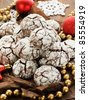 Chocolate snow cap cookies for Christmas. Shallow dof. - stock photo