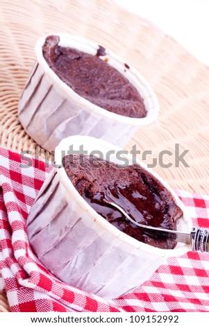 chocolate souffles - stock photo
