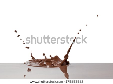 chocolate splash closeup isolated on white background