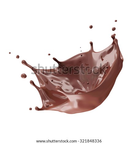 Chocolate Splash with place for Your Object isolated on white background