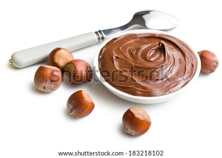 chocolate spread in bowl on white background - stock photo