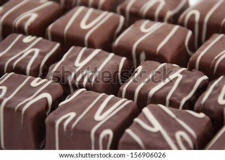 Chocolate squared praline - stock photo