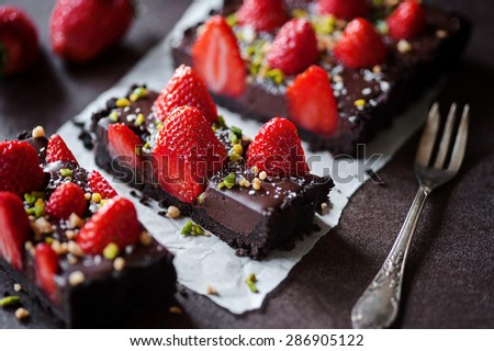 Chocolate-Strawberry Tarte - stock photo