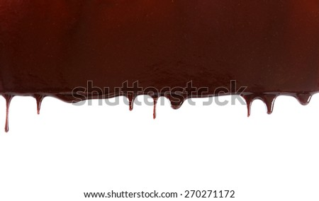 Chocolate stream isolated on white - stock photo