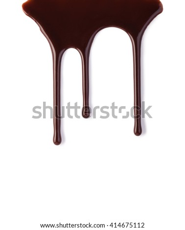 chocolate streams isolated on a white - stock photo