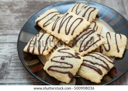Chocolate sweet biscuit on plate