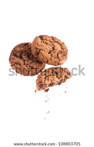 Chocolate sweet cookies isolated on a white background
