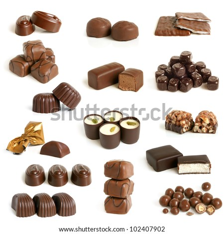 Chocolate sweets collection on a white background - stock photo