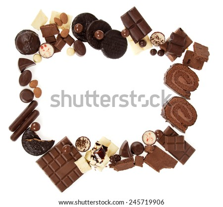 Chocolate sweets frame isolated on white background - stock photo