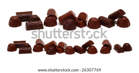 Chocolate sweets, isolated on white - stock photo