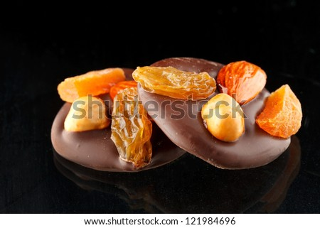 chocolate sweets with nuts - stock photo