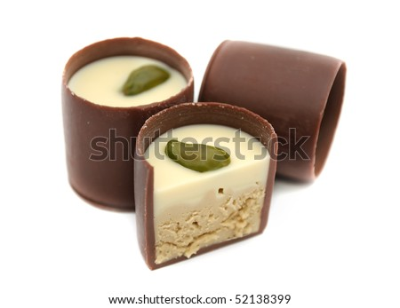 Chocolate Sweets with Pistachio - stock photo