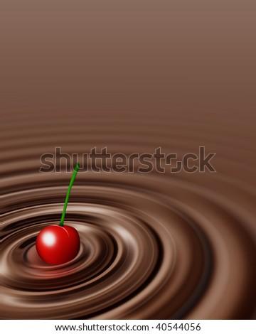 Chocolate swirl whit cherry - stock photo