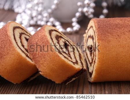 chocolate swiss roll - stock photo