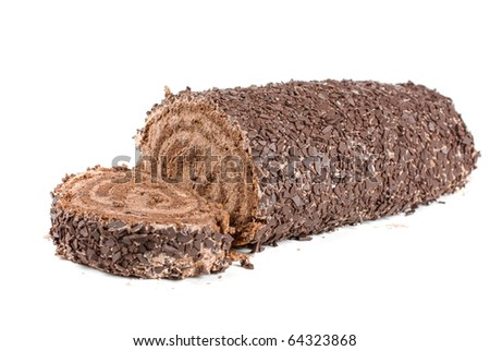 Chocolate Swiss roll closeup isolated on a white background - stock photo