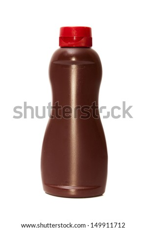 chocolate syrup bottle on a white background - stock photo