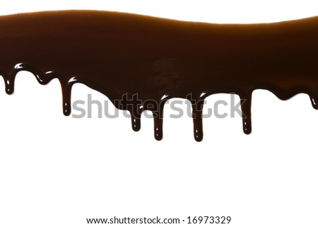 Chocolate syrup drips isolated on a white background - stock photo