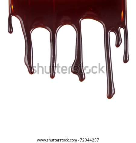 chocolate syrup leaking on white background - stock photo