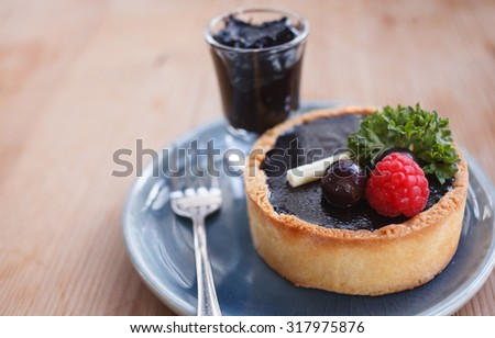 Chocolate tart with chocolate sauce - stock photo