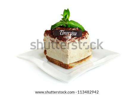 Chocolate tiramisu cake isolated on the white - stock photo
