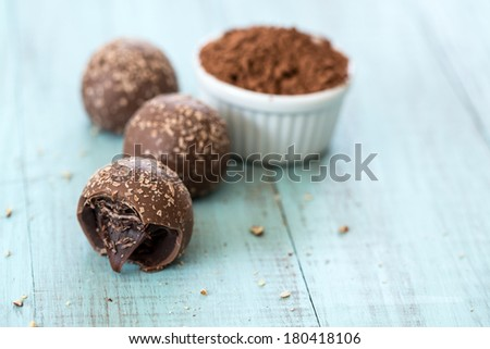 Chocolate truffle candies with crumbs with cocoa powder room for text - stock photo