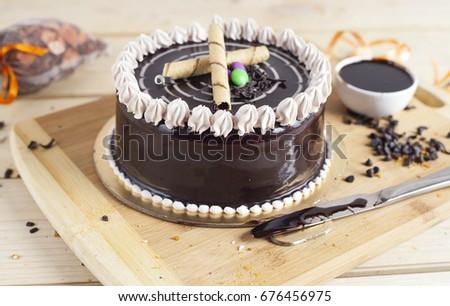 Chocolate Vanilla Cake Wooden Background Stock Photo 676456975