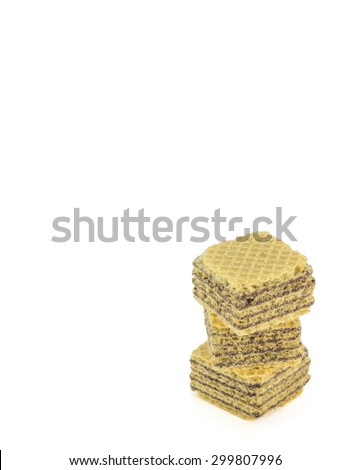 Chocolate wafer cubes isolated white background