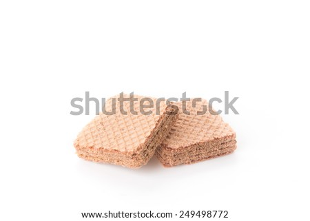 chocolate wafer on white background - stock photo