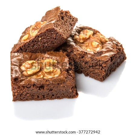 Chocolate walnut brownies over white background