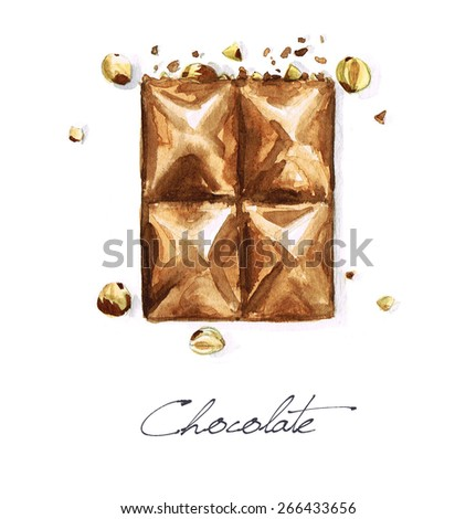 Chocolate - Watercolor Food Collection - stock photo
