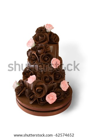 Chocolate Wedding Cake with Clipping Path - stock photo