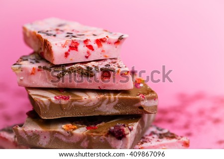 chocolate with berries - stock photo
