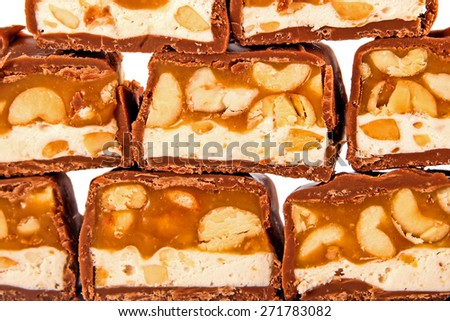 Chocolate with caramel background  - stock photo