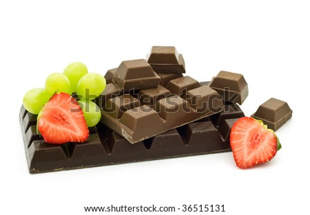 chocolate with fruits on white background - stock photo
