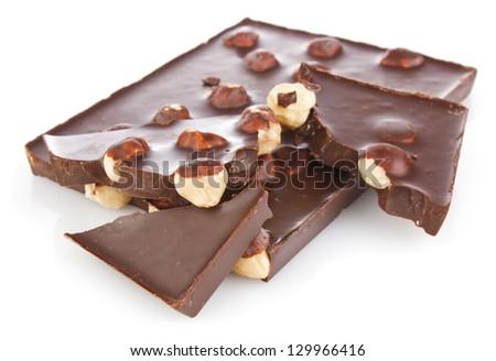 chocolate with hazelnut isolated on white background - stock photo