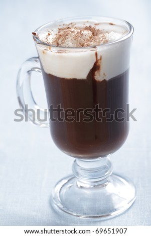 Chocolate with ice cream in the glass