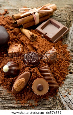 chocolate with ingredients - stock photo
