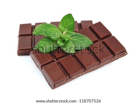 Chocolate with mint on a white background