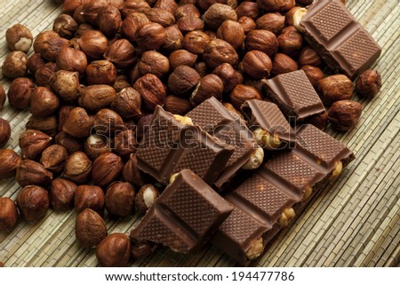 chocolate with nuts - stock photo