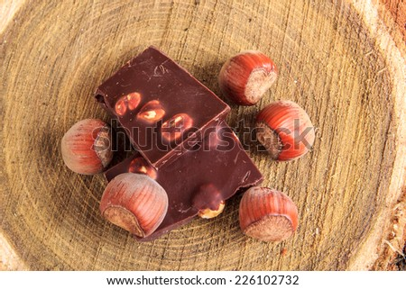 Chocolate with nuts and hazelnuts on stump of wood from top view - stock photo