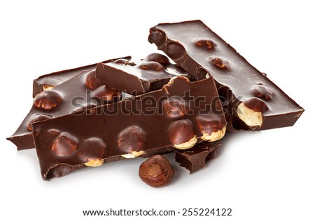 Chocolate with nuts isolated - stock photo