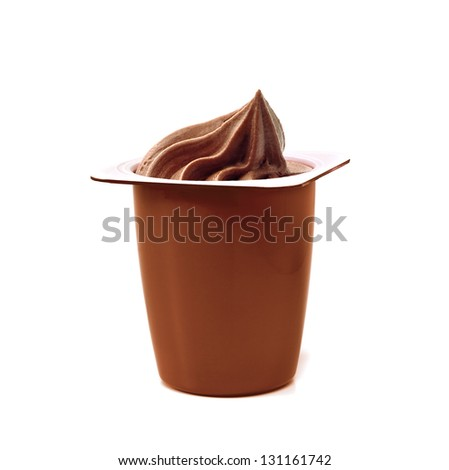 Chocolate Yogurt In Commercial Package On White Background - stock photo