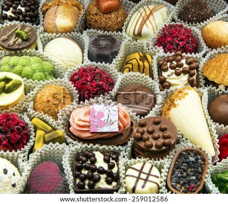 Chocolates Candy, closeup - stock photo