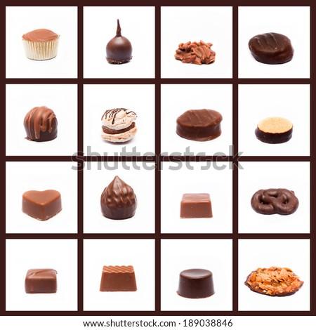 chocolates collage - stock photo