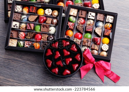 chocolates confectionery in gift box - sweet food - stock photo