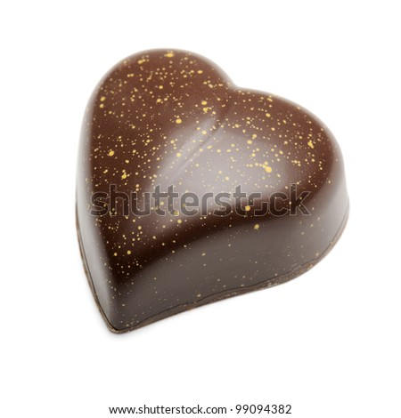 chocolates heart-shaped, isolated on white - stock photo