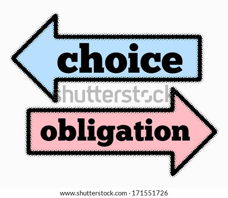 Choice and obligation signs in blue and pink  arrows concept - stock photo