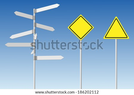Choice and warning concept. Blank direction signpost and guard road posts on blue sky background. For eps file look id:31512853 - stock photo