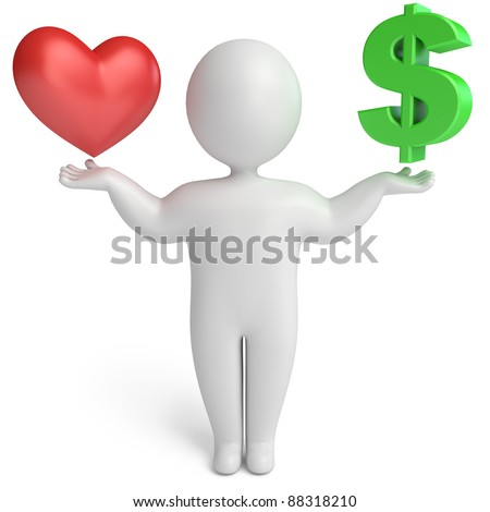 choice between love and money, on a white background, 3d render - stock photo
