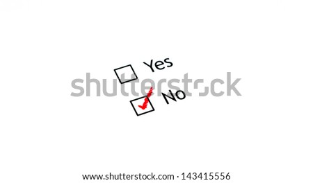 Choice between yes or no, checked no - stock photo